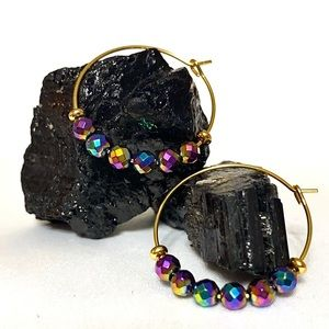 Jewelry - RAINBOW HEMATITE Hoop Earrings🌈